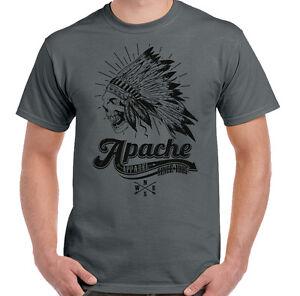 Apache Apparel Mens Indian Skull Headdress T Shirt Motorcycle Biker