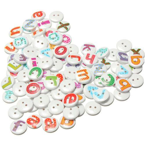 200Pcs Mixed letter Round Wooden Sewing Button Children Kids Scrapbooking 15mm