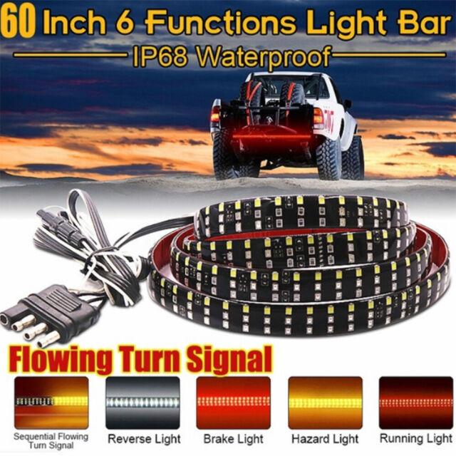 60 Triple Row Truck Tailgate Light Bar Led Strip Reverse Brake Turn Signal Lamp