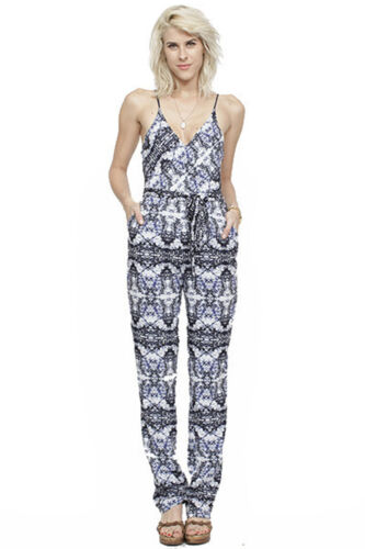 Wren Abstract white Navy Print S Batik Cami Size 00 375 In Jumpsuit rrwRUd