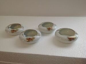 Fukagawa-China-Set-of-4-Ashtrays-Arita-904-Pine-Cone-Handpainted-excellent-cond