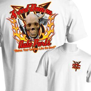 377590713 Hot Rod Auto Parts T-Shirt Skull Flames Rat Rod Tattoo Small to 6X ...
