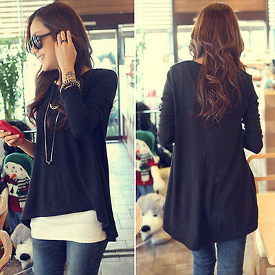 New Womens Long-Sleeved Irregular Hem Loose Long Sleeve Tops T-shirt Joli
