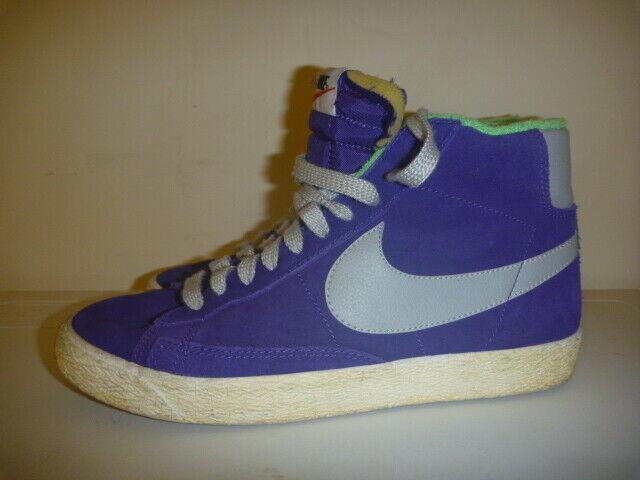 NIKE BLAZER MID PREMIUM Vintage Púrpura Talla UK 7 Cuero High Tops Zapatillas Gamuza