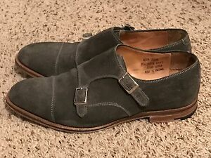 Alfred Sargent Double Monk Strap Mens Suede Shoes Grey Us 10 Ebay