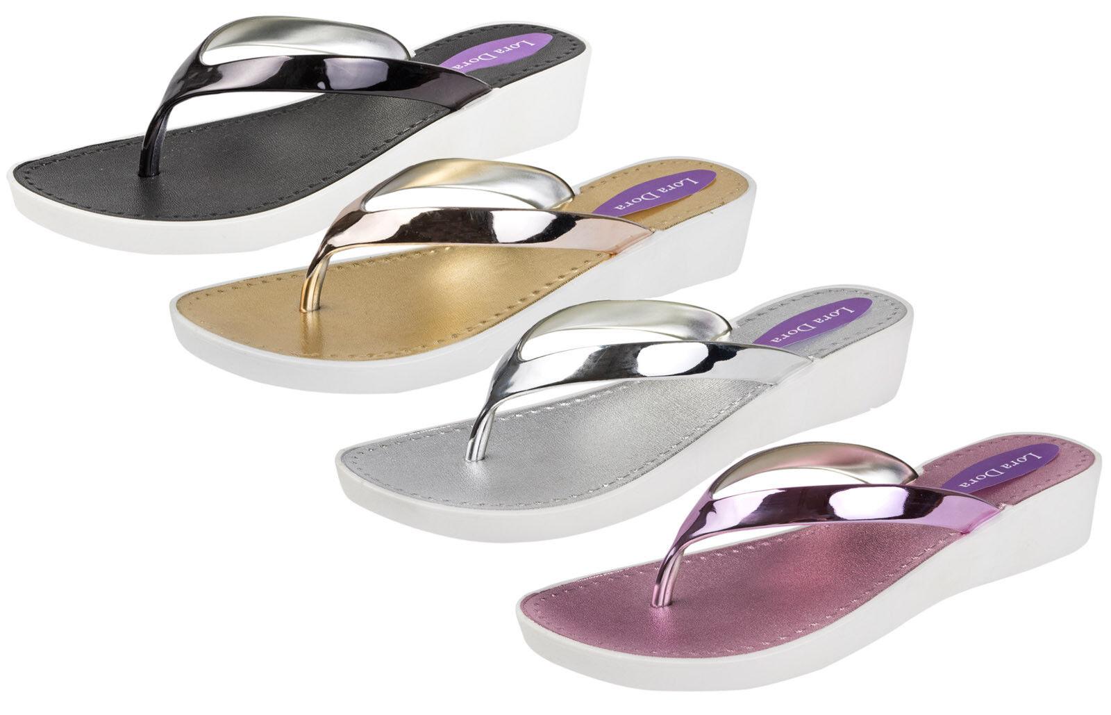 Womens Flip Metallic Low Wedge Sandals Ladies Toe Post Flip Womens Flops Summer Beach Shoes 993927
