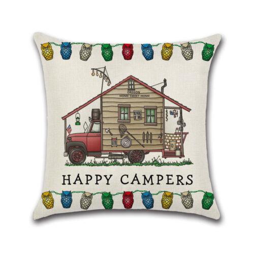 Happy Campers Camping Caravane E Housse De Coussin Beige Cadeau Camping Housse De Coussin