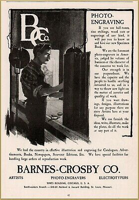 1900-09 Advertising-print 1900 D Barnes-crosby Co Artists Photo-engravers Electrotypes Worker Print Ad Grade Products According To Quality