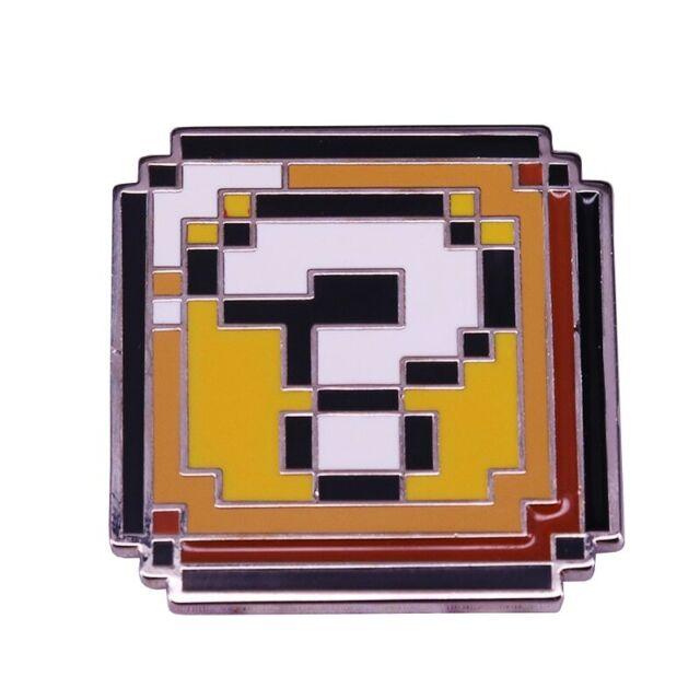 Mario Pixel Question Mark Brooch Retro Nintendo Geek Gamer