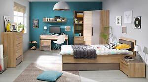 Details Zu Jugendzimmer Komplett Malakka Eckschrank Schreibtisch Kommode Regal Bett