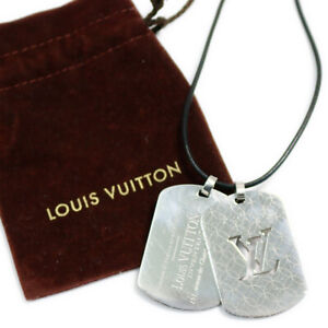 LOUIS-VUITTON-PENDENTIF-CHAMPS-ELYSEES-GM-M65453-Dog-Tag-Silver-Necklace-Used
