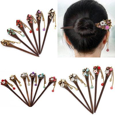 Vintage Women Wooden Hair Stick Chopsticks Hairpin Pin Handmade Rhinestone
