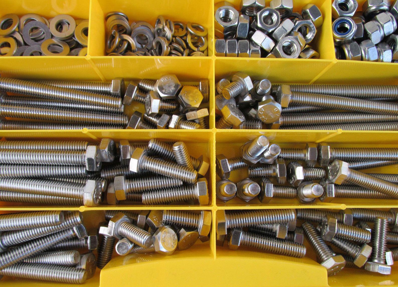 180 Teile Edelstahl VA Sechskant Schrauben Muttern Scheiben BOX BOX BOX DIN 933 M8   M10 | Verpackungsvielfalt  09eb9a