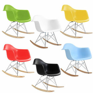 Excellent Details About Mid Century Modern Molded Plastic Rocking Rocker Shell Arm Side Chair New Alphanode Cool Chair Designs And Ideas Alphanodeonline