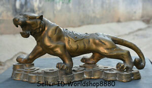 18-8-034-Old-Chinese-Bronze-Copper-Folk-Feng-Shui-Zodiac-Tiger-Coins-Wealth-Statue