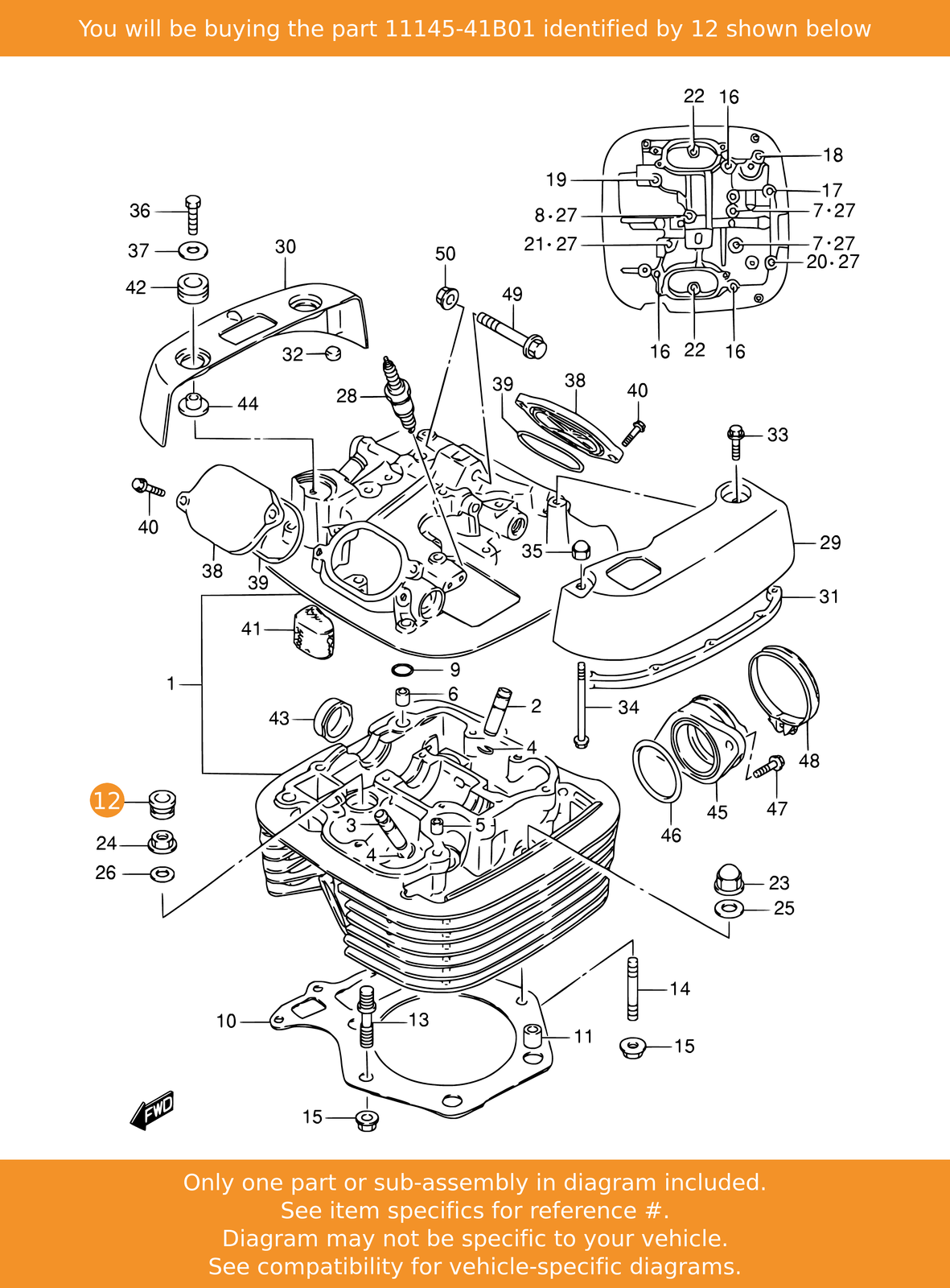 Suzuki Cap Cylinder He 11145-41B01 New Oem