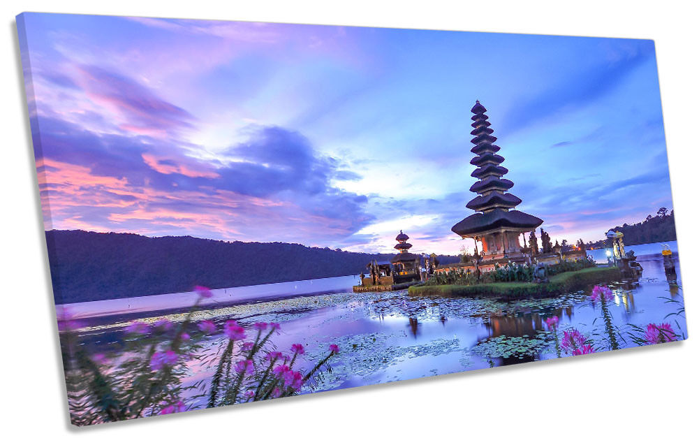 Bali Temple Indonesia Framed PANORAMIC CANVAS PRINT Wall Art