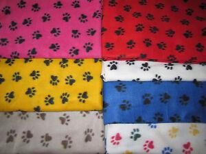 Polar Fleece Animal Paw Puppy Dog Print Fabric By The Yard