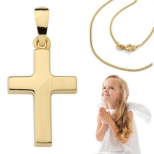 Kinder Taufe Kommunion Firmung Kreuz Echt Gold 333 mit Kette Silber vergoldet