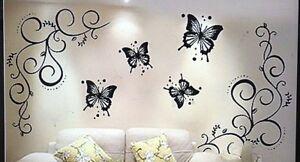 Decori Stencil Per Pareti.Stikers Adesivi Murali Con Fiori E Farfalle Decorazioni Pareti