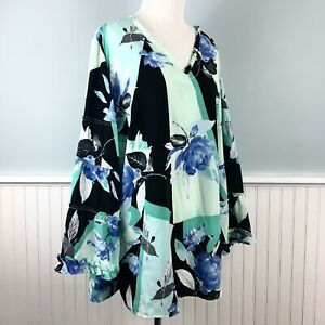 SIZE-2X-Alfani-Floral-Tiered-Ruffle-Sleeve-Top-Blouse-Shirt-Women-s-Plus-NWT-New