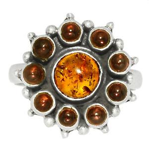 Amber & Garnet 925 Silver Ring Jewelry s.8 BR45541