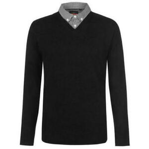 Men-s-PIERRE-CARDIN-V-Neck-Mock-Shirt-Jumper-Size-3XL-48-034-Black-BNWOT