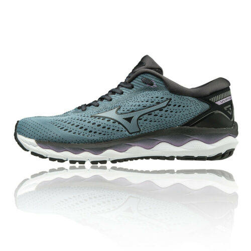 Mizuno Womens Wave Sky 3 Running Shoes Trainers Sneakers Blue Sports Breathable