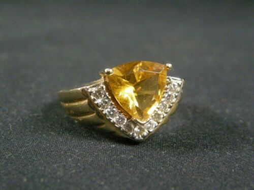 Batch #1 Vintage Art Deco Style Sterling Silver Genuine golden Citrine  Round Stackable Ring Size 7 Jewelry  K