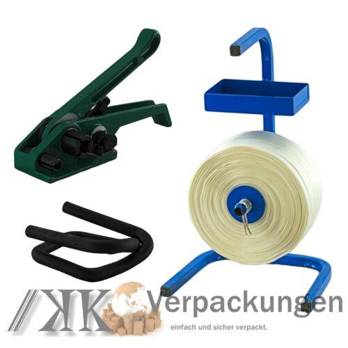 19 mm textiles tissés Umreifung Set umreifungsband DEROULEUR bandspanner bornes
