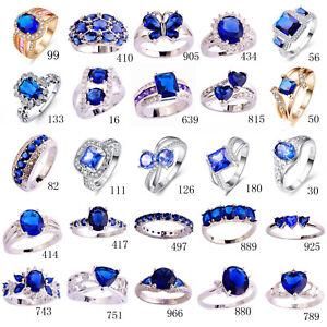 Femmes-Hommes-Mode-Bleu-Saphir-amp-Tanzanite-amp-White-Topaz-925-Argent-Bague-Cadeaux