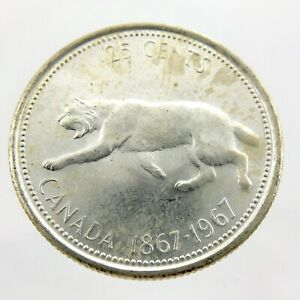 1967-Canadian-Twenty-Five-Cents-Quarter-25-Canada-Uncirculated-Coin-C710