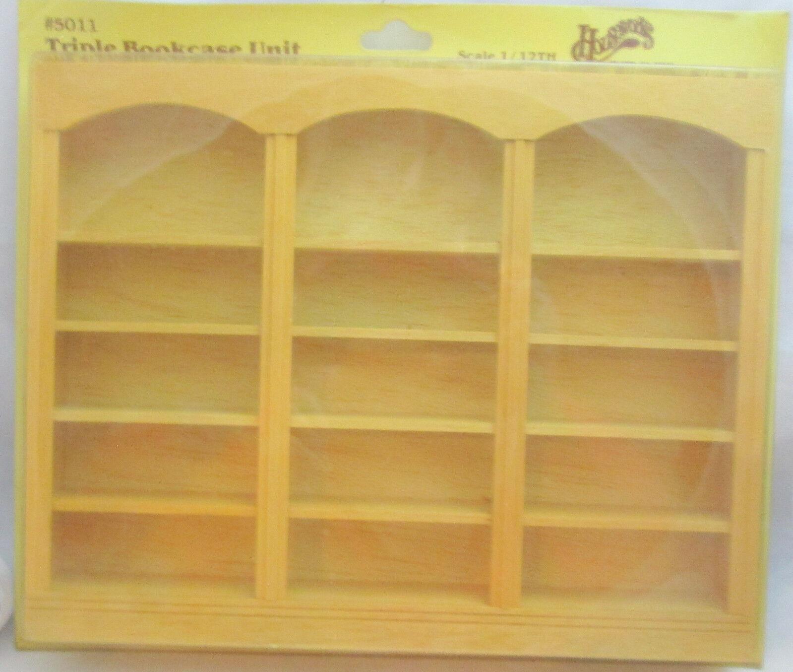 Preowned Dollhouse Houseworks 3 Unit 5 Shelf Bookcase Unfinished Wood
