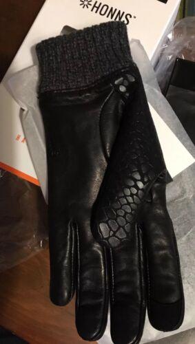 New Honns Maryjane Women's Handcrafted Gloves Lambskin Black 6.5 Small New