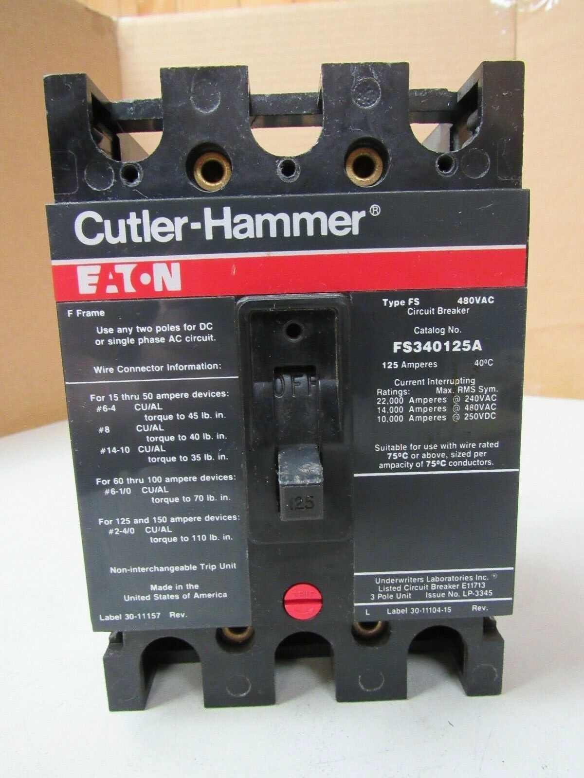 CUTLER-HAMMER 3 POLE CIRCUIT BREAKER FS340125A 125A 125 AMP A TYPE on 3 pole 40a 120v contactor, 3 pole relay 120v, 3 pole contactor 7 amp 220v coil,