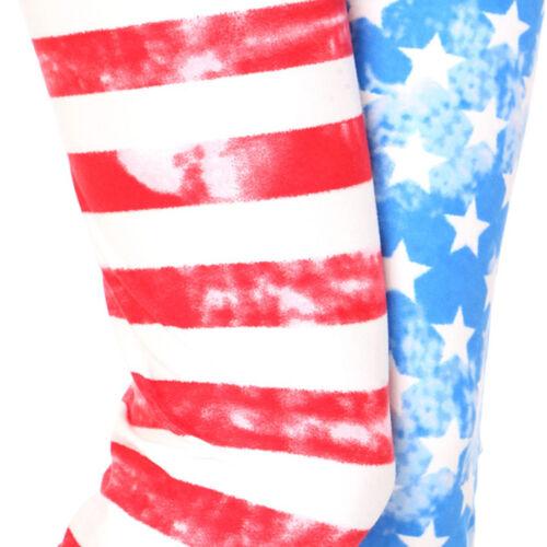 Women/'s American Flag Printed Leggings Buttery Soft Peach Skin One Size 0-12