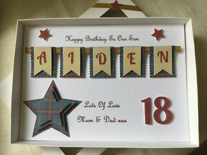 Image Is Loading Handmade Personalised Boxed Card Birthday Boys Men 16