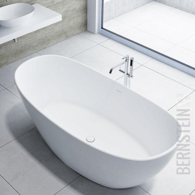 Freistehende Badewanne aus Mineralguss HAWAII STONE weiß - 180x85cm
