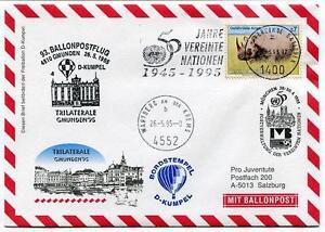 1995 Ballonpost N. 93 Pro Juventute A. D-kumpel Gmunden Trilaterale Onu Wartberg