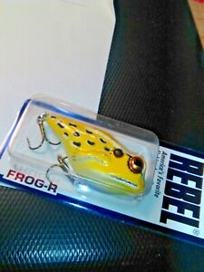VINTAGE-LURE-REBEL-FROG-R-SWAMP-FROG-YELLOW-BLACK-WHITE-LURE-FOR-BASS-IN-BOX