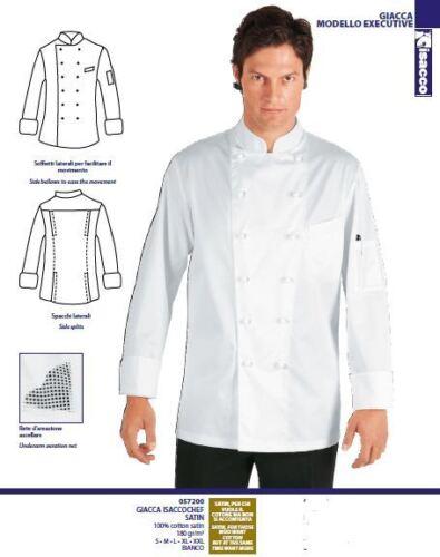 Isacco de satiné Veste cuisinier 100coton blanche P8nwkZN0OX
