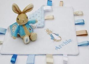 Peter-Rabbit-Rattle-Taggy-Blanket-Set-Personalised-Choose-Item-Unique-Baby-Gift