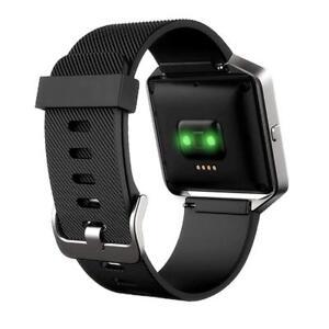 Fitbit-Blaze-Correa-Negra-pequeno-grande-banda-de-bucle-de-silicona-suave-de-Repuesto-marco