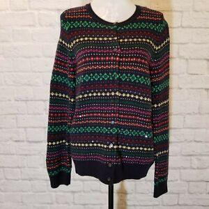 Talbots-Womens-NWT-Fair-Isle-Lambswool-Cardigan-Size-Large
