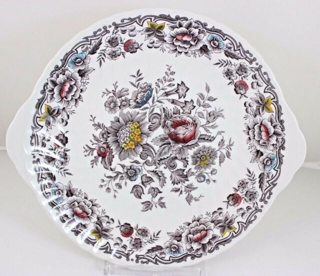 SERVE PLATTER & DINNER PLATE VINTAGE RIDGWAY CHINA ENGLAND CLIFTON MULTICOLOR
