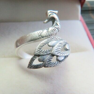 New Solid 925 Sterling Silver Peacock Open Ring Size 4-10