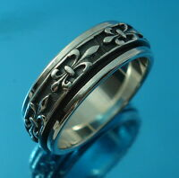 925 Sterling Silver Spinning Rotating Gothic Band Ring 8mm Wide Uk Hallmarked