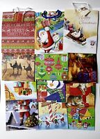 Wholesale 50 Christmas Gift Bags Assorted Designs W/handle & Name Tag 9x 7x 4
