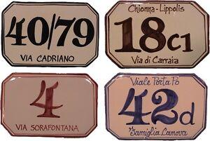 Cm 15 X 10 Numero Civico Personalizzato Targa Ceramica Mattonella