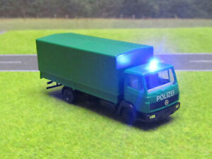 Polizei-LKW-Mercedes-Benz-12V-Blaulicht-Plane-Abnehmbar-Pritsche-1-87-H0-LED-25